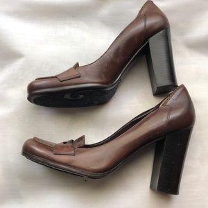 Nine West Brown High Heel Loafers Size 10